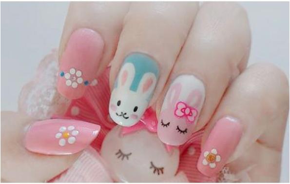 Spring Nail designs bunnies