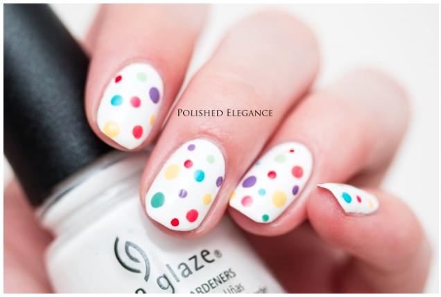 Spring Nail designs polka dots