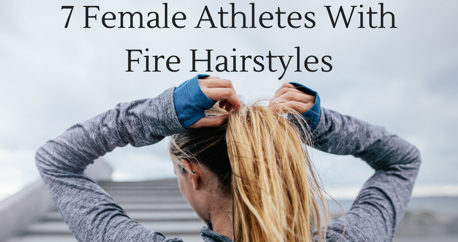 Woman adjusting her ponytail Athletes With Fire Hairstyles